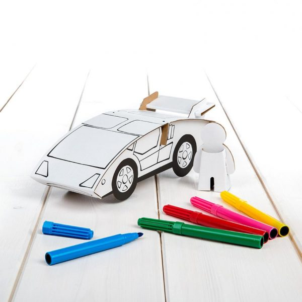 carro desportivos e 6 canetas para montar e colorir