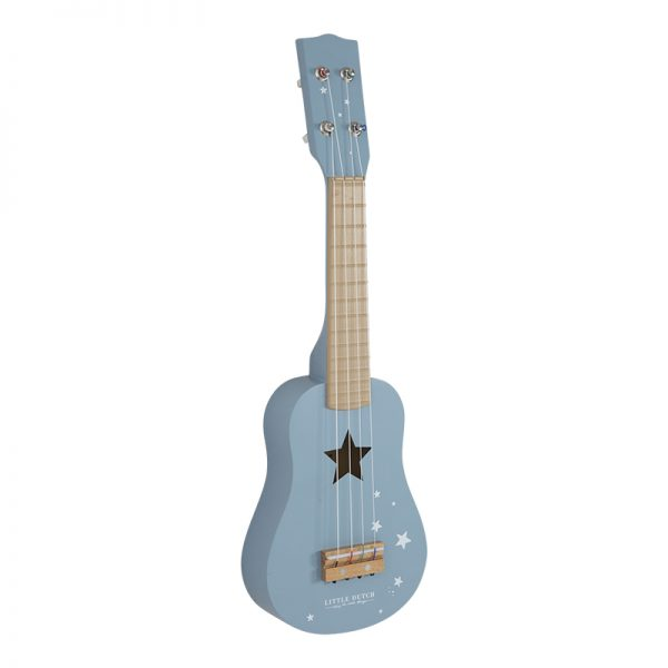 guitarra de criança em madeira, de cor azul