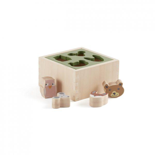 caixa de formas edvin da Kids Concept - Um brinquedo em madeira com animais de encaixe